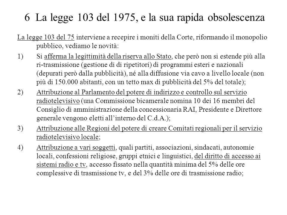 6 La legge 103 del 1975, e la sua rapida obsolescenza