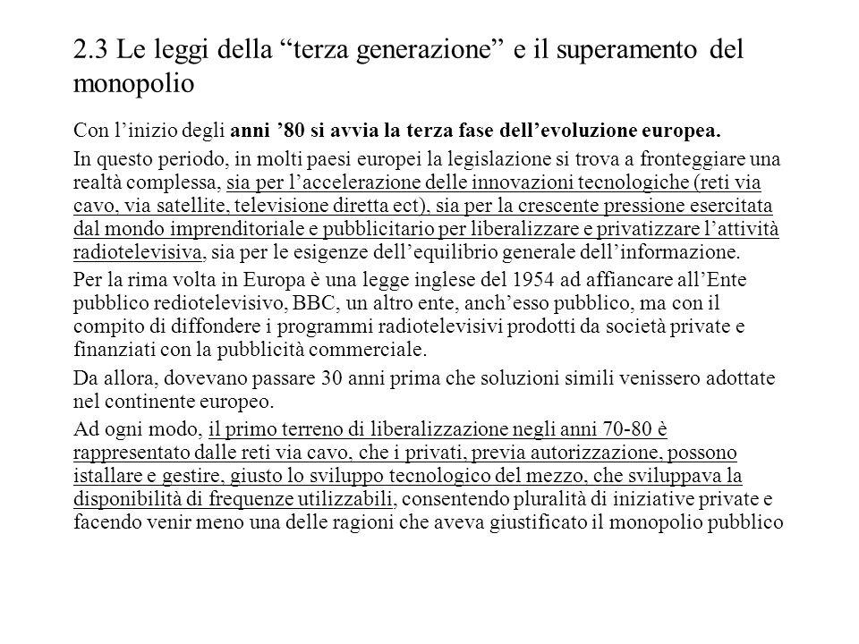 2.3 Le leggi della terza generazione e il superamento del monopolio