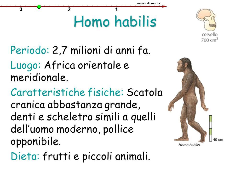 Homo habilis Periodo: 2,7 milioni di anni fa.