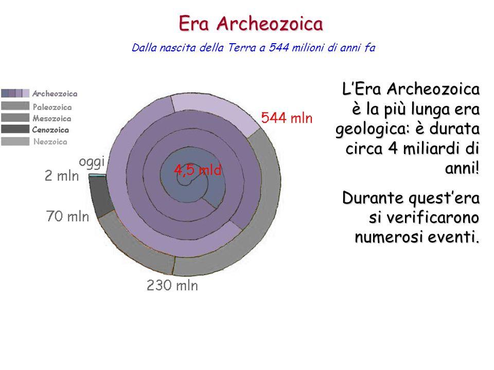 Era Archeozoica Dalla nascita della Terra a 544 milioni di anni fa.
