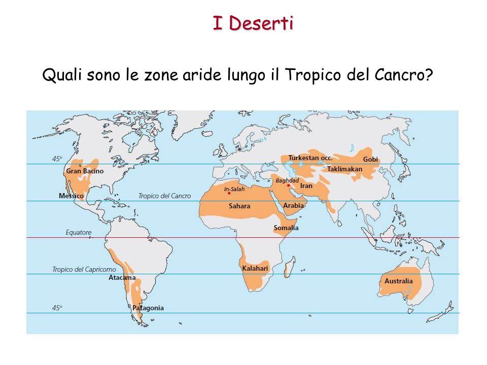 Quali sono le zone aride lungo il Tropico del Cancro