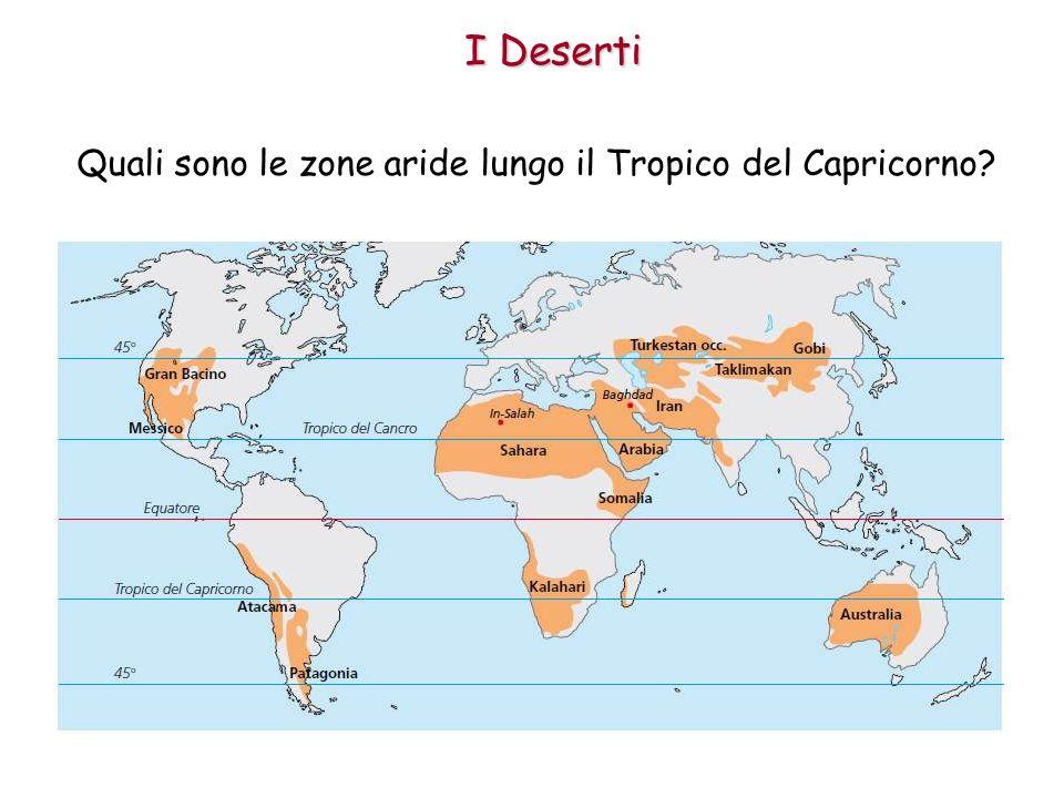 Quali sono le zone aride lungo il Tropico del Capricorno