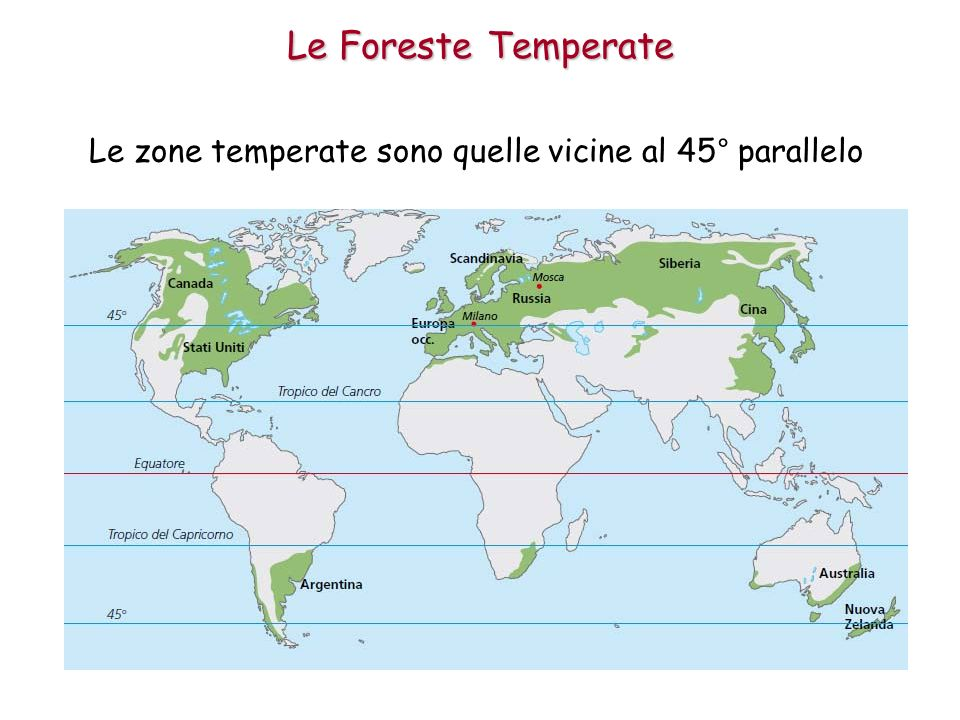 Le zone temperate sono quelle vicine al 45° parallelo