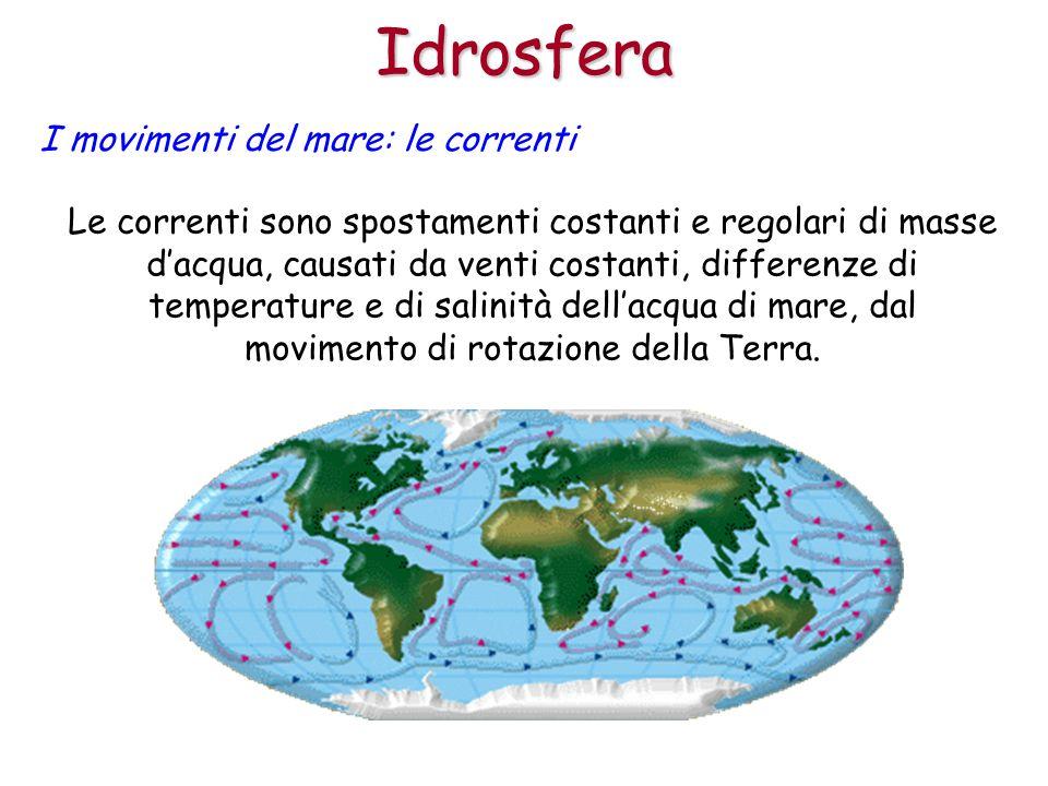 Idrosfera I movimenti del mare: le correnti