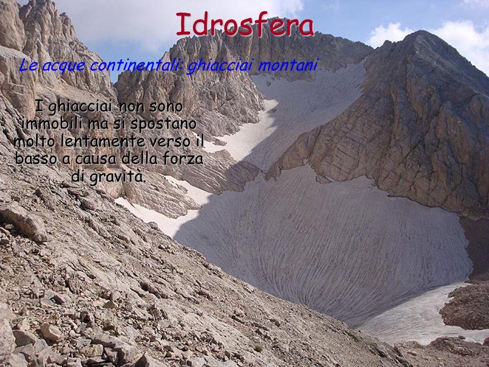 Idrosfera Le acque continentali: ghiacciai montani
