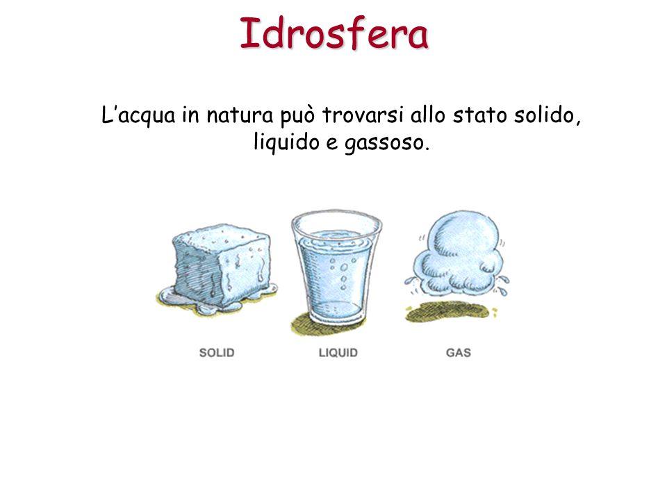 L'acqua in natura può trovarsi allo stato solido, liquido e gassoso.