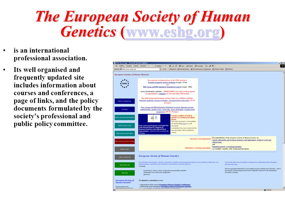 The European Society of Human Genetics (www.eshg.org)