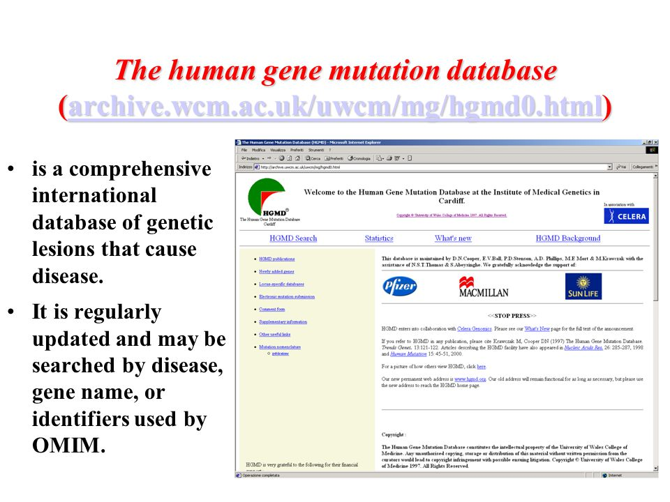 The human gene mutation database (archive. wcm. ac. uk/uwcm/mg/hgmd0