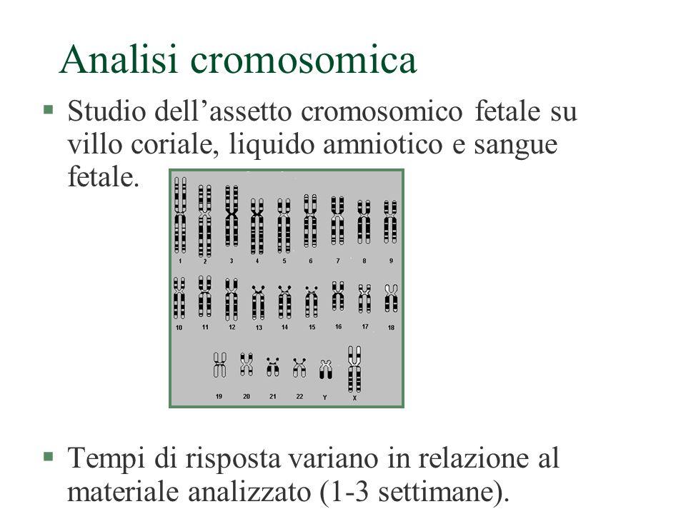 Analisi cromosomica Studio dell'assetto cromosomico fetale su villo coriale, liquido amniotico e sangue fetale.