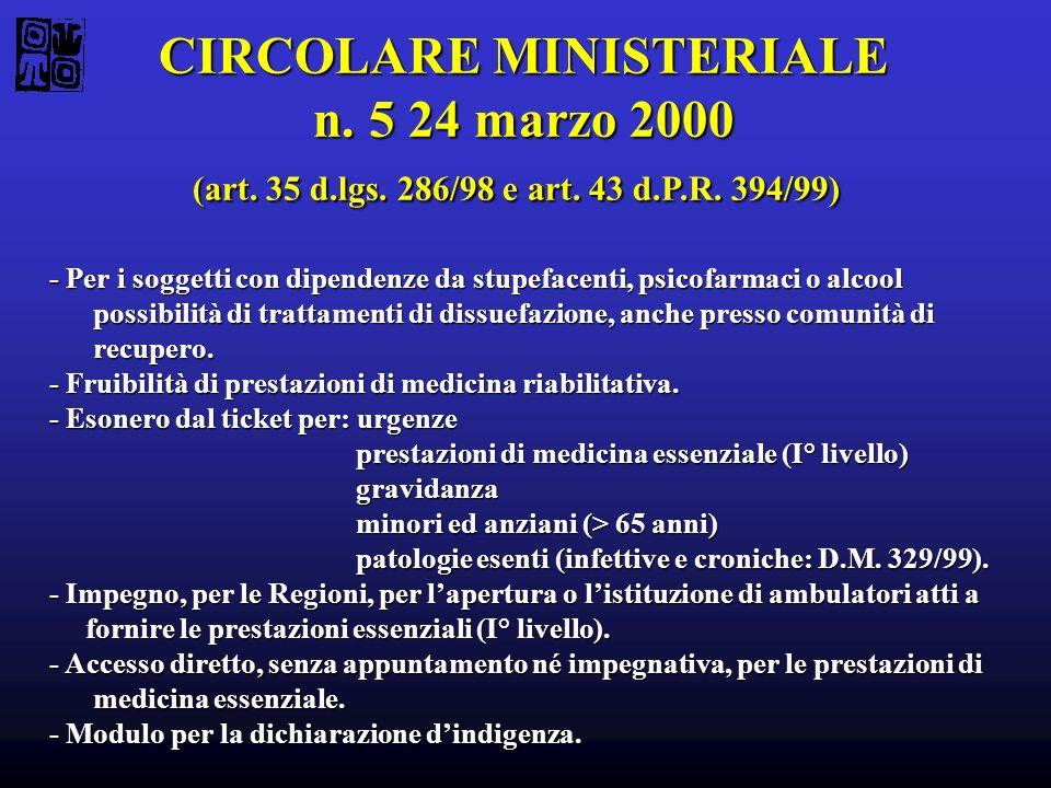 CIRCOLARE MINISTERIALE