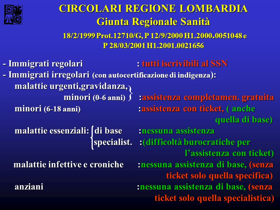CIRCOLARI REGIONE LOMBARDIA Giunta Regionale Sanità