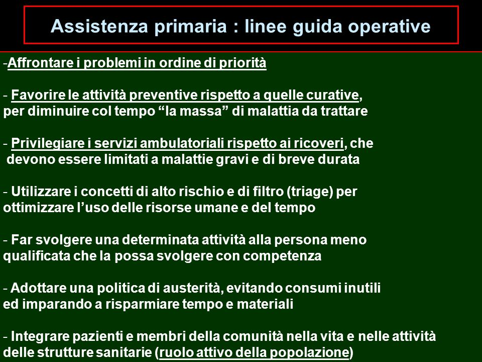 Assistenza primaria : linee guida operative