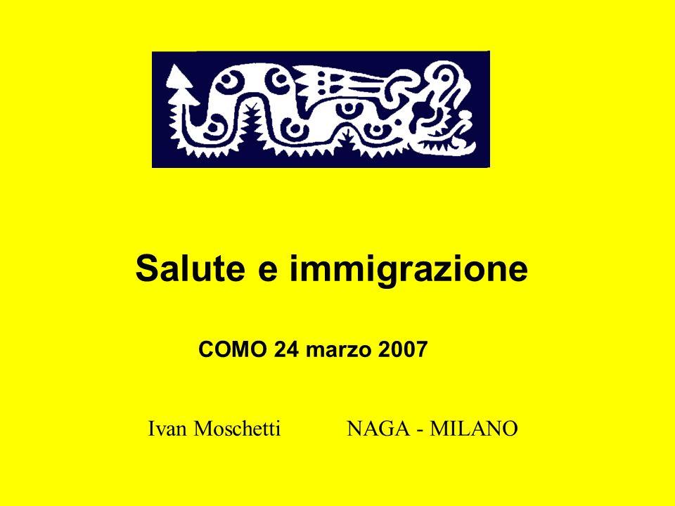 Salute e immigrazione COMO 24 marzo 2007 Ivan Moschetti NAGA - MILANO