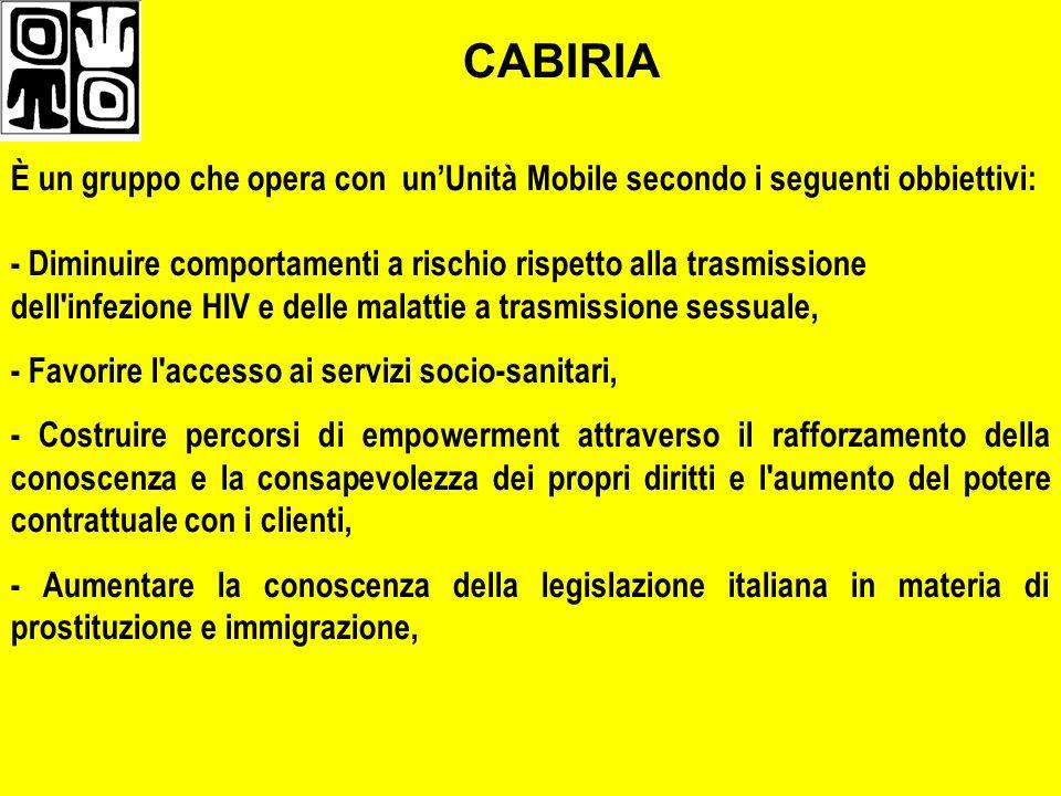 CABIRIA È un gruppo che opera con un'Unità Mobile secondo i seguenti obbiettivi: