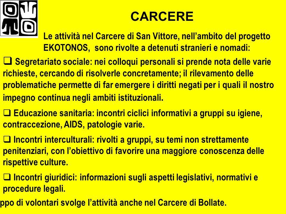 CARCERE Le attività nel Carcere di San Vittore, nell'ambito del progetto EKOTONOS, sono rivolte a detenuti stranieri e nomadi: