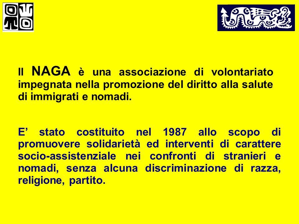 Il NAGA è una associazione di volontariato impegnata nella promozione del diritto alla salute di immigrati e nomadi.