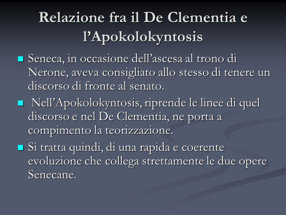 Relazione fra il De Clementia e l'Apokolokyntosis