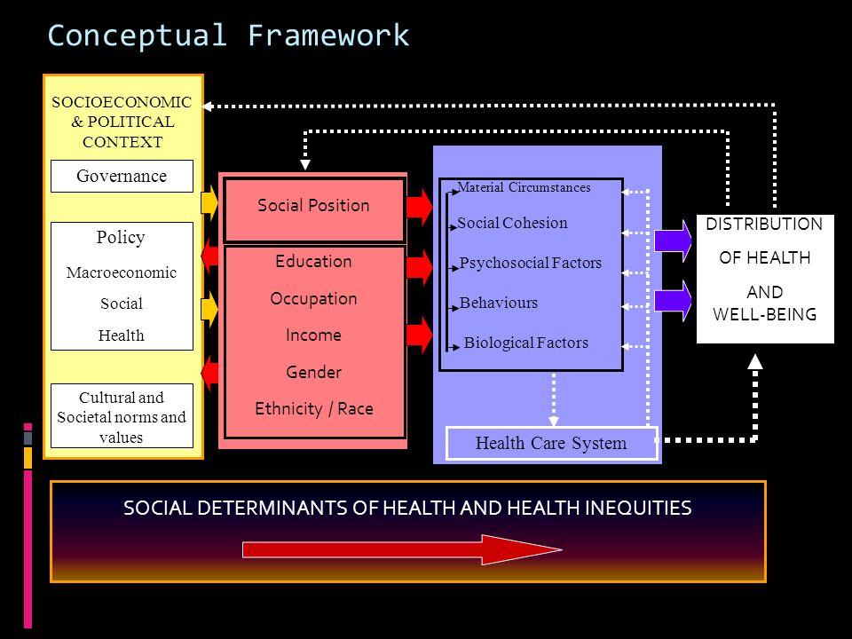 Conceptual Framework SOCIOECONOMIC. & POLITICAL. CONTEXT. Governance. Social Position. Material Circumstances.