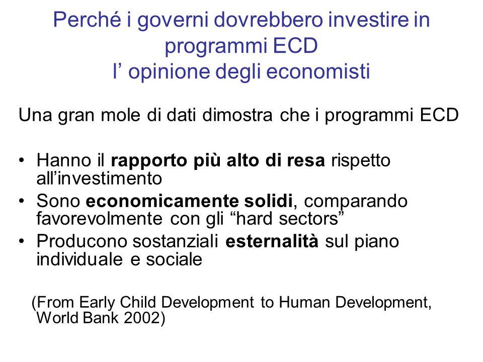 Perché i governi dovrebbero investire in programmi ECD l' opinione degli economisti