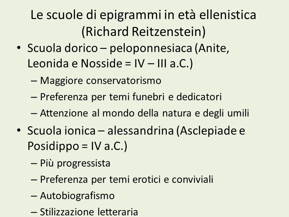 Le scuole di epigrammi in età ellenistica (Richard Reitzenstein)