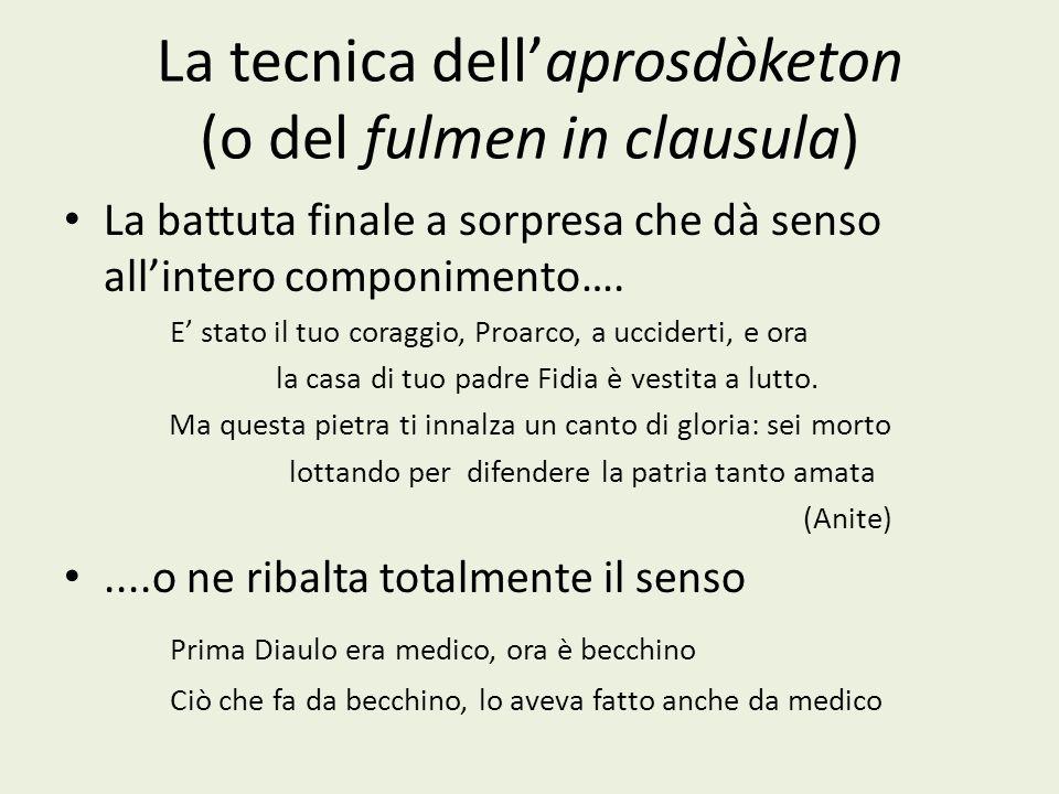 La tecnica dell'aprosdòketon (o del fulmen in clausula)