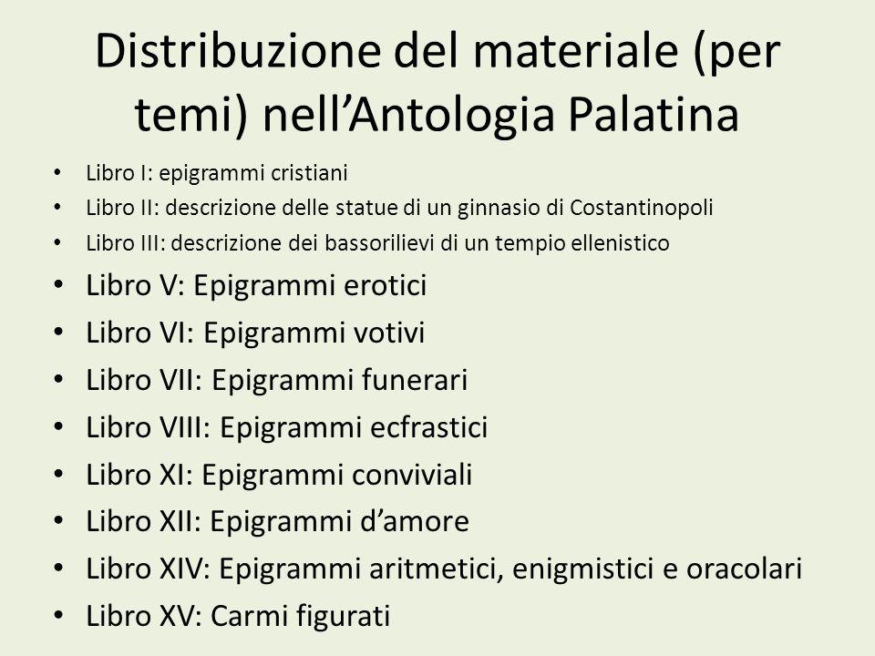 Distribuzione del materiale (per temi) nell'Antologia Palatina