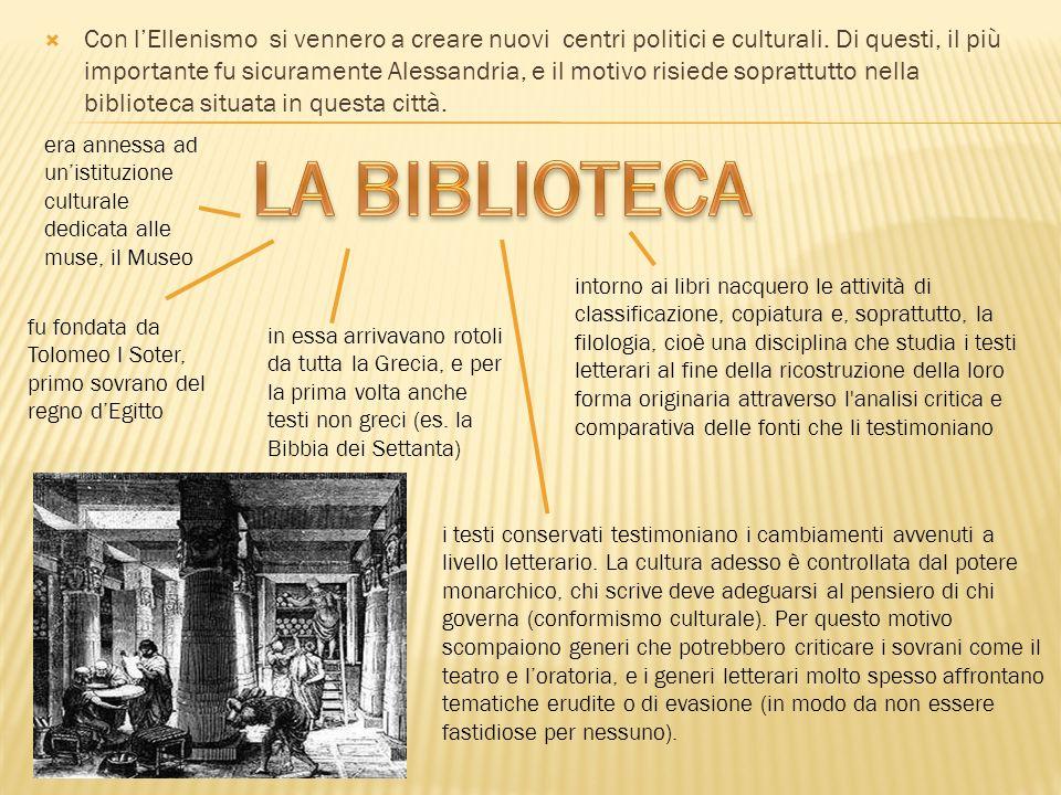 Con l'Ellenismo si vennero a creare nuovi centri politici e culturali