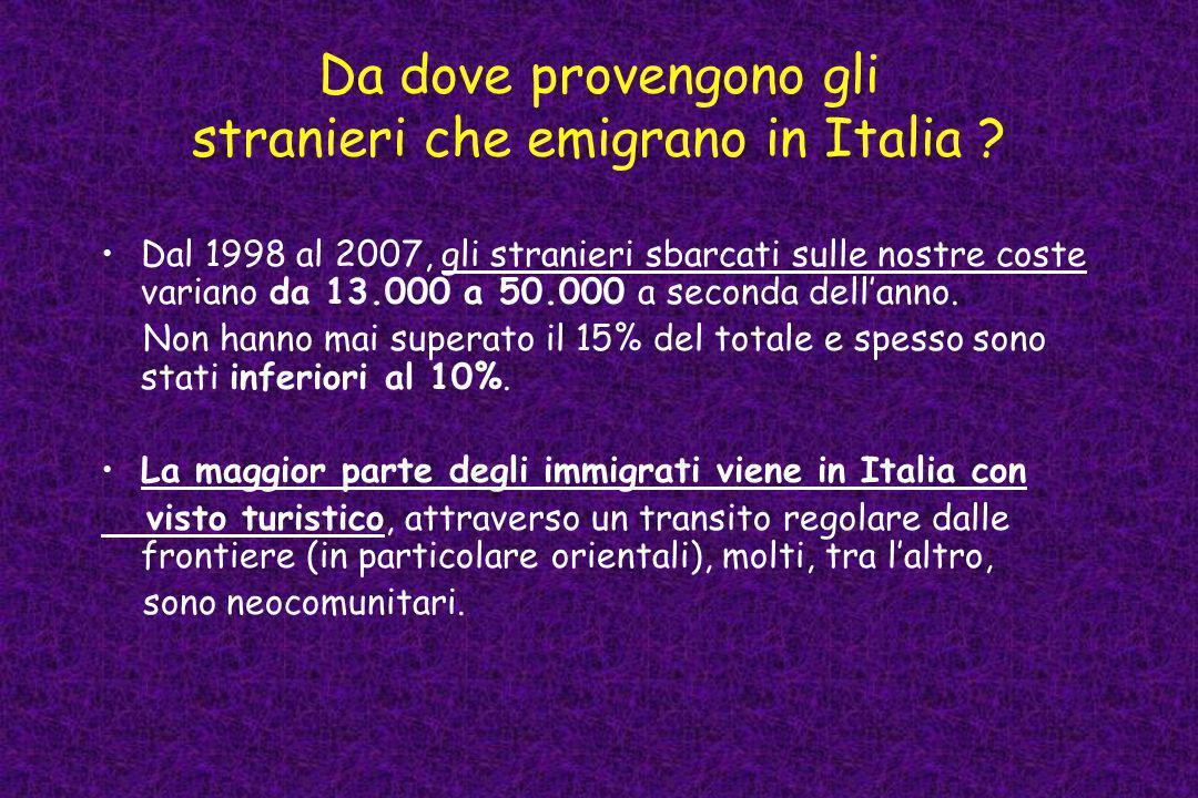 Da dove provengono gli stranieri che emigrano in Italia