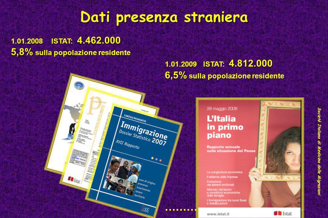 Dati presenza straniera Società Italiana di Medicina delle Migrazioni