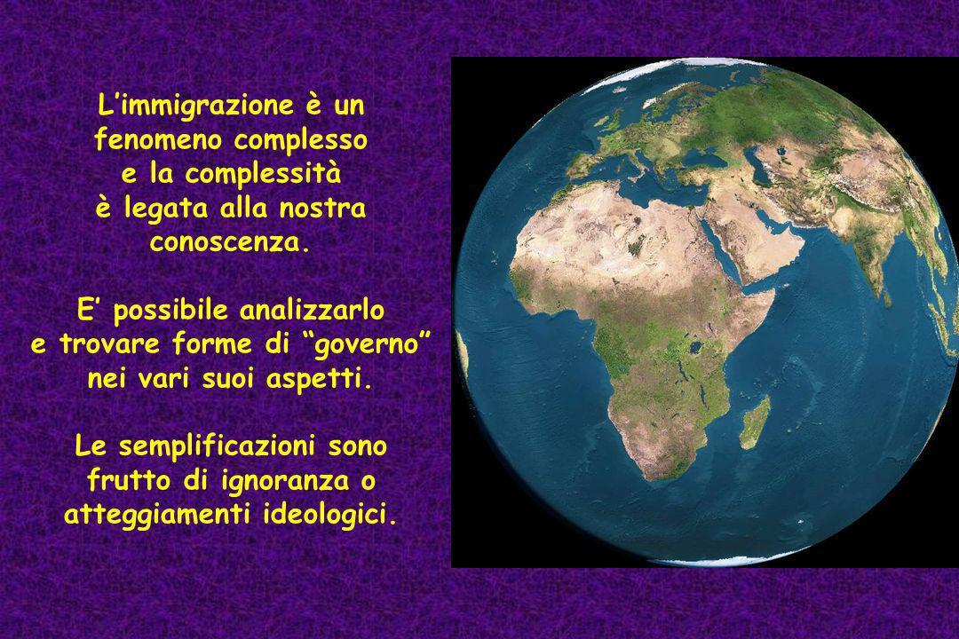 L'immigrazione è un fenomeno complesso e la complessità è legata alla nostra conoscenza.