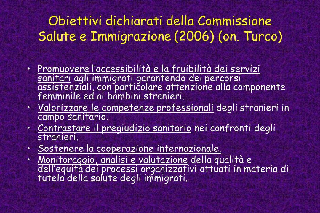 Obiettivi dichiarati della Commissione Salute e Immigrazione (2006) (on. Turco)
