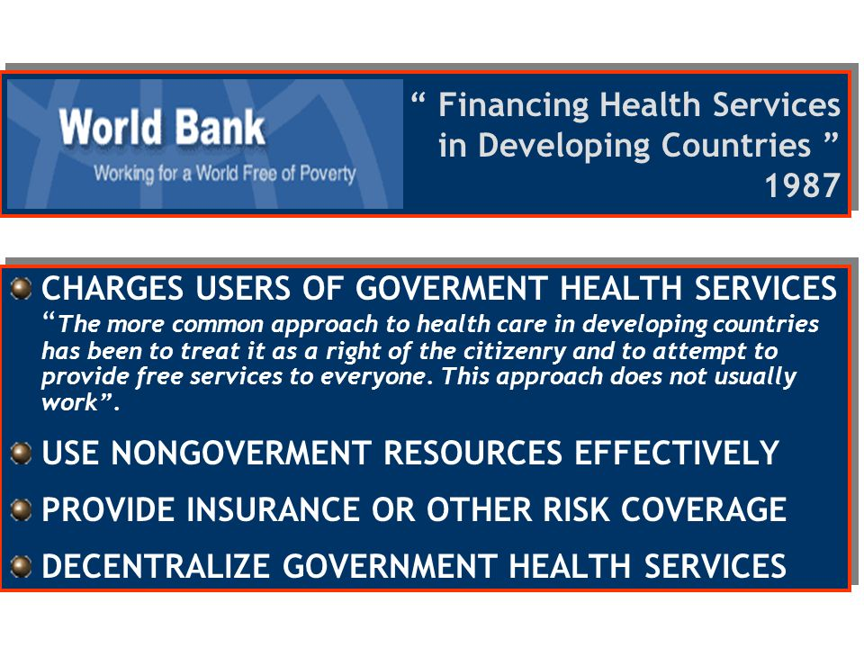 Financing Health Services in Developing Countries 1987