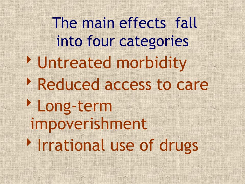 The main effects fall into four categories