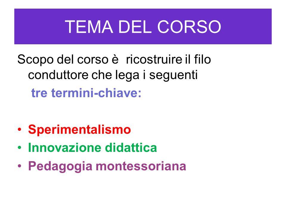 TEMA DEL CORSO Scopo del corso è ricostruire il filo conduttore che lega i seguenti. tre termini-chiave: