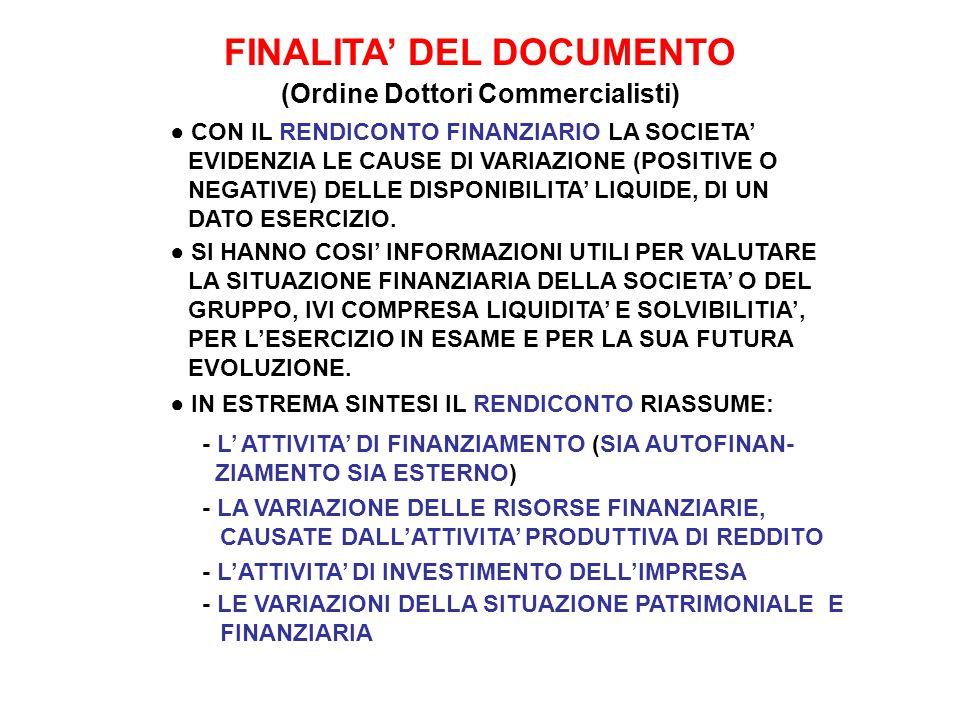 FINALITA' DEL DOCUMENTO (Ordine Dottori Commercialisti)