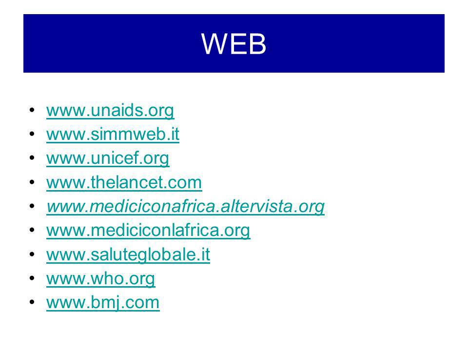 WEB www.unaids.org. www.simmweb.it. www.unicef.org. www.thelancet.com. www.mediciconafrica.altervista.org.