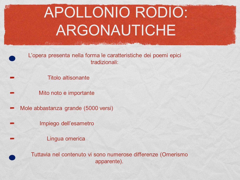 APOLLONIO RODIO: ARGONAUTICHE