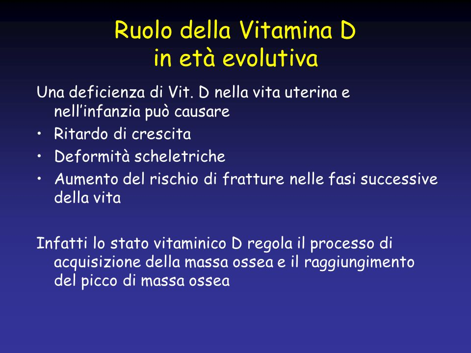 Ruolo della Vitamina D in età evolutiva