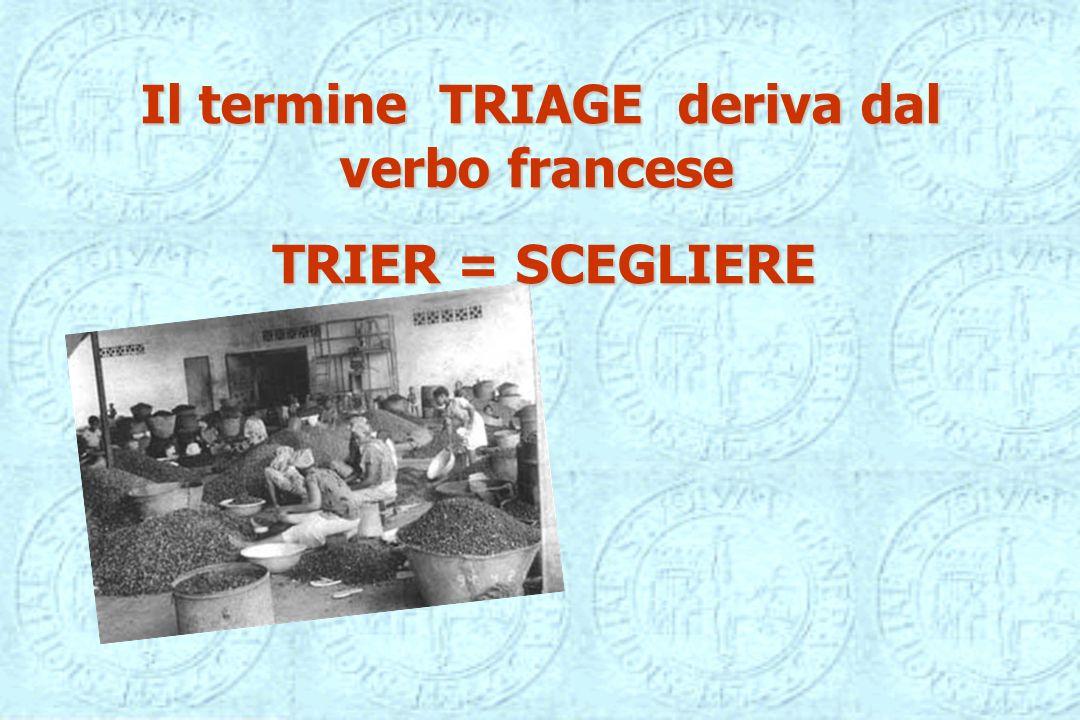Il termine TRIAGE deriva dal verbo francese
