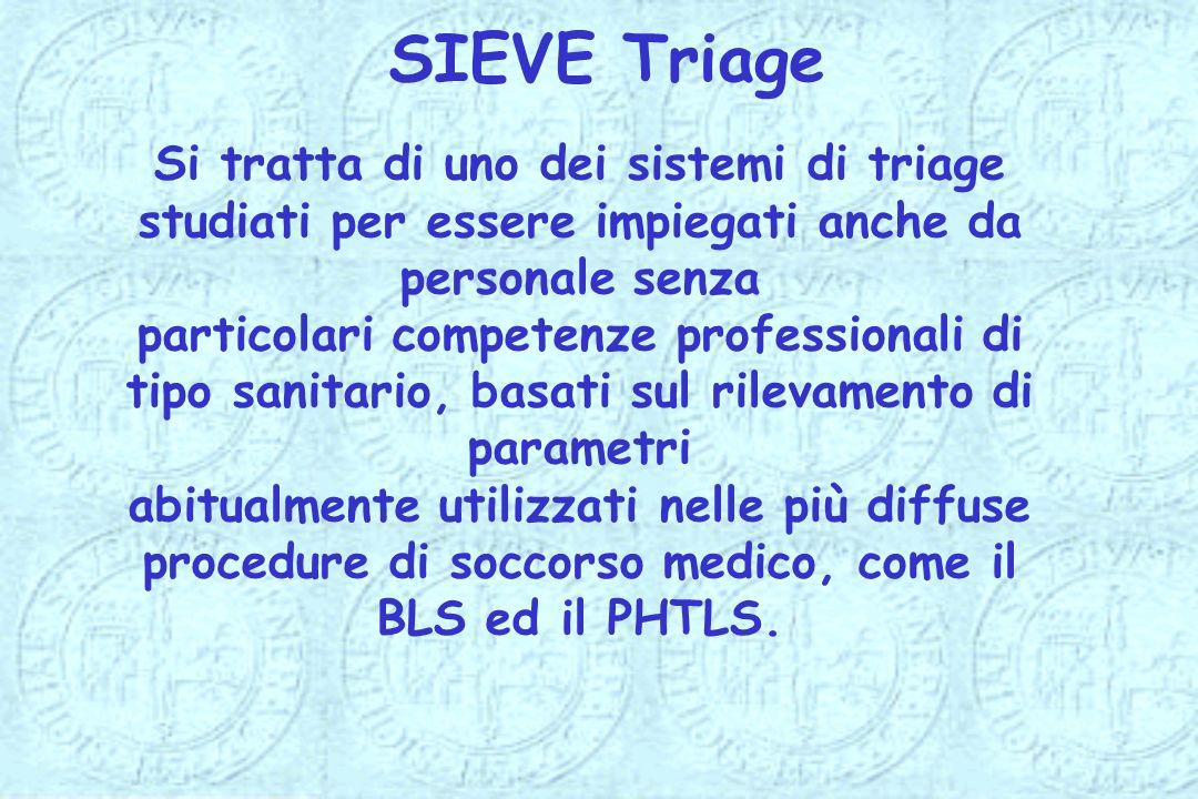 SIEVE Triage Si tratta di uno dei sistemi di triage studiati per essere impiegati anche da personale senza.