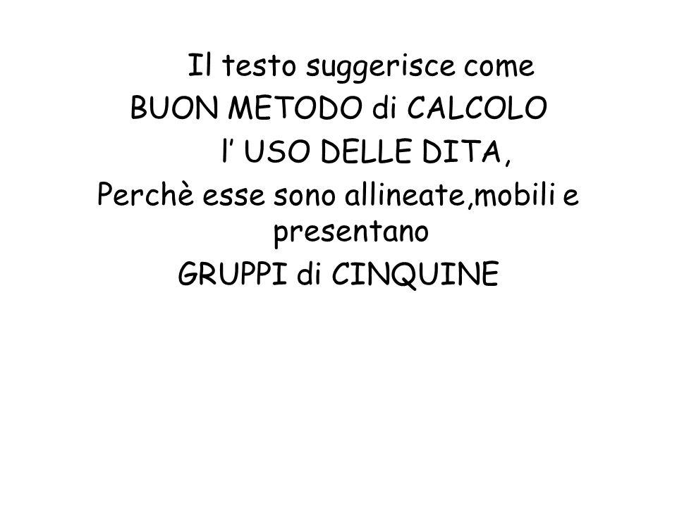 Il testo suggerisce come BUON METODO di CALCOLO l' USO DELLE DITA,
