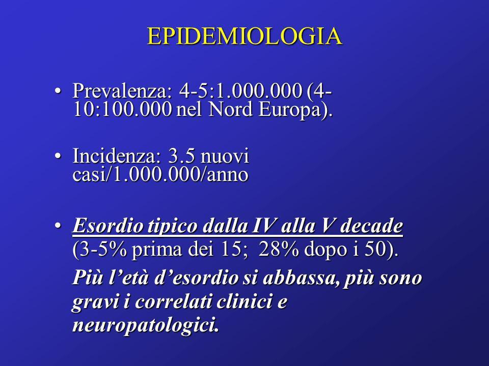 EPIDEMIOLOGIA Prevalenza: 4-5:1.000.000 (4-10:100.000 nel Nord Europa). Incidenza: 3.5 nuovi casi/1.000.000/anno.