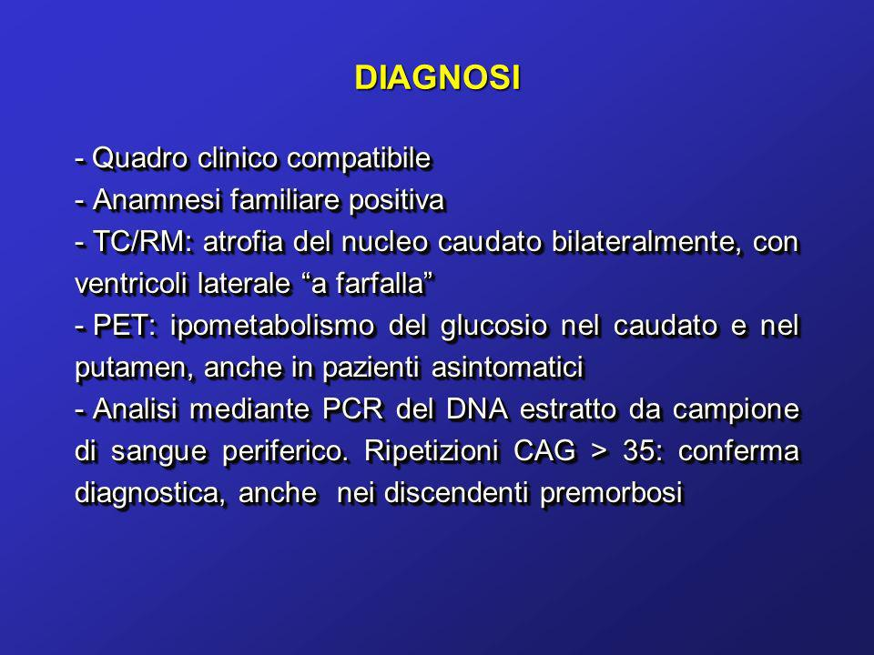 DIAGNOSI - Quadro clinico compatibile Anamnesi familiare positiva