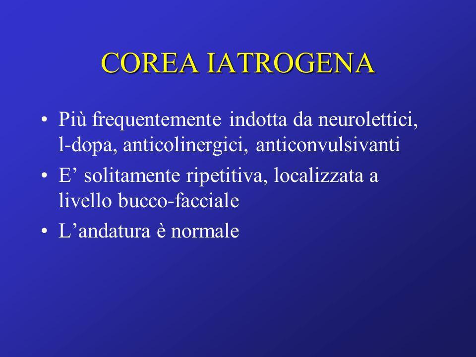 COREA IATROGENA Più frequentemente indotta da neurolettici, l-dopa, anticolinergici, anticonvulsivanti.