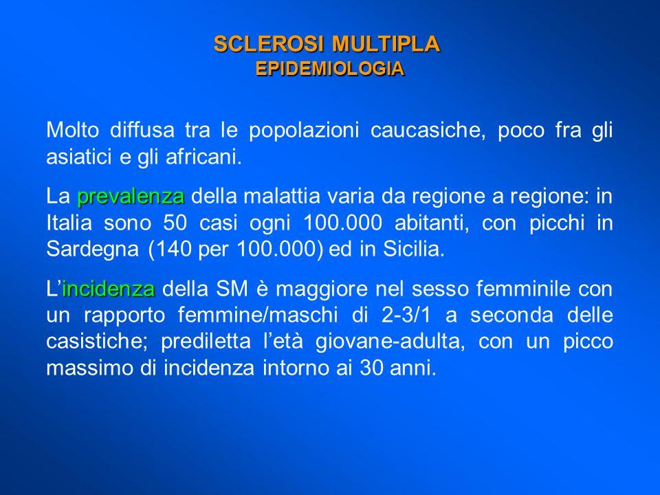 SCLEROSI MULTIPLA EPIDEMIOLOGIA. Molto diffusa tra le popolazioni caucasiche, poco fra gli asiatici e gli africani.