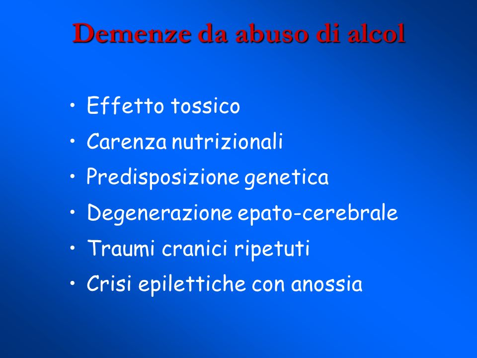 Demenze da abuso di alcol