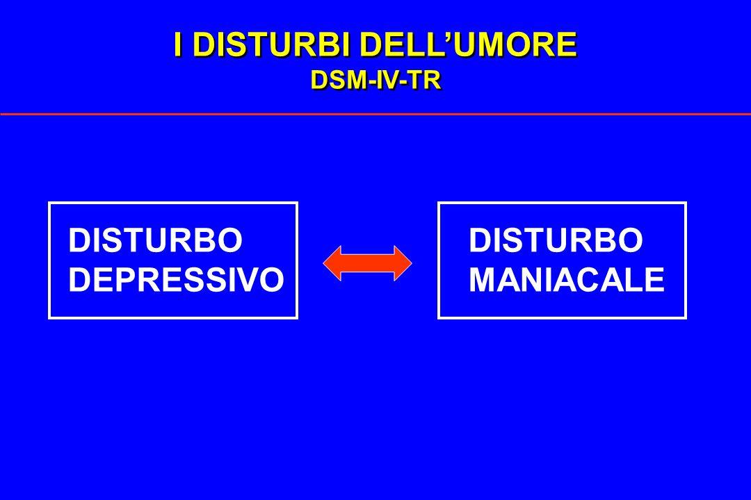 I DISTURBI DELL'UMORE DSM-IV-TR DISTURBO DISTURBO DEPRESSIVO MANIACALE