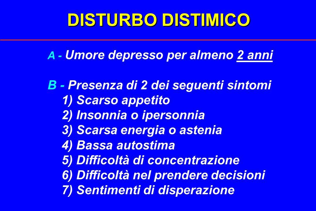 DISTURBO DISTIMICO B - Presenza di 2 dei seguenti sintomi