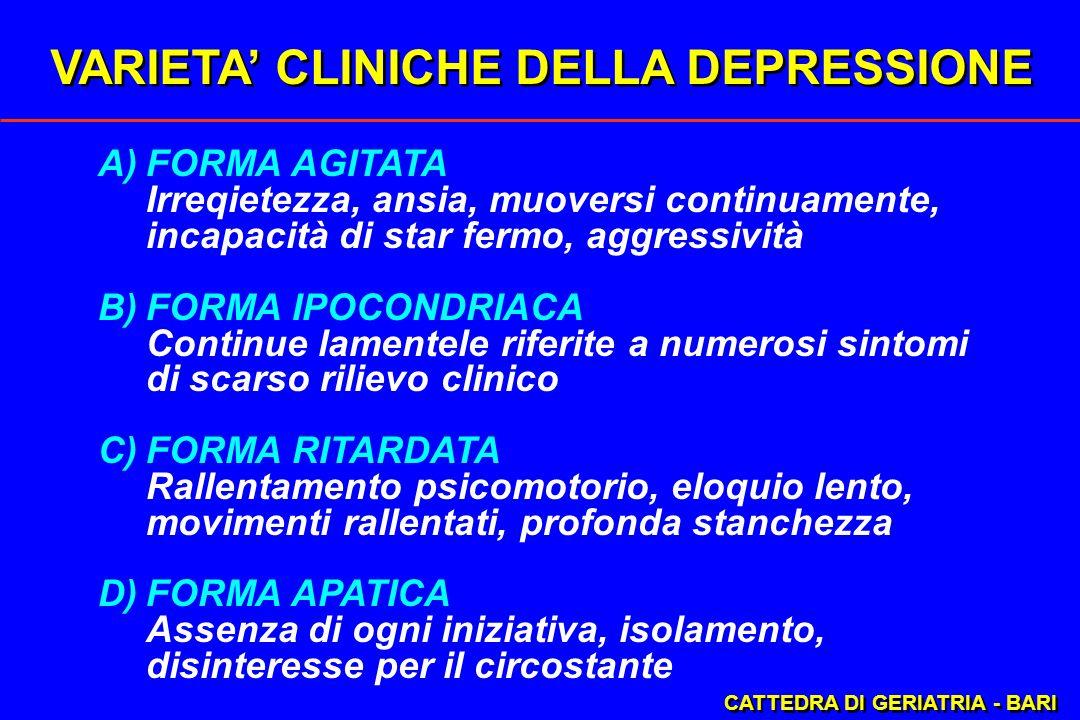 VARIETA' CLINICHE DELLA DEPRESSIONE