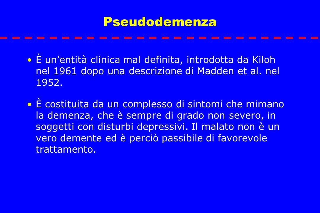 Pseudodemenza È un'entità clinica mal definita, introdotta da Kiloh nel 1961 dopo una descrizione di Madden et al. nel 1952.